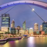 Elizabeth Quay, Perth, just after sunset, with the city lights in the background