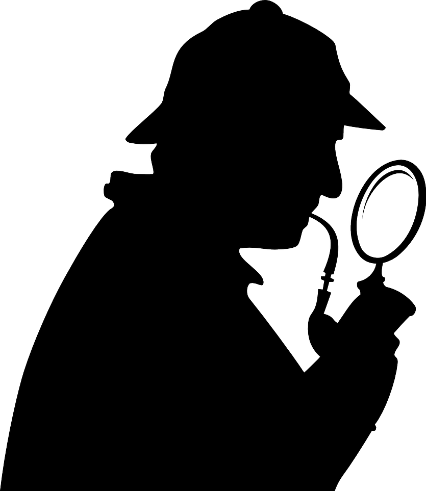 Silhouette of Sherlock Holmes with pipe and magnifying glass