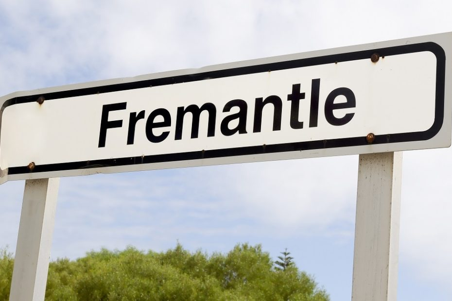 Fremantle railway sign with sky background